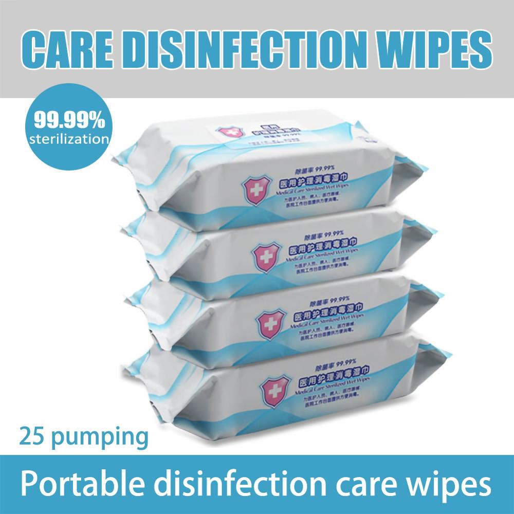25 Pumping/Bag Disinfecting Wipes Disposable Hand Wipes Skin Toys Cleaning Bacteria Disinfection Wipes Alcohol Cotton Pieces
