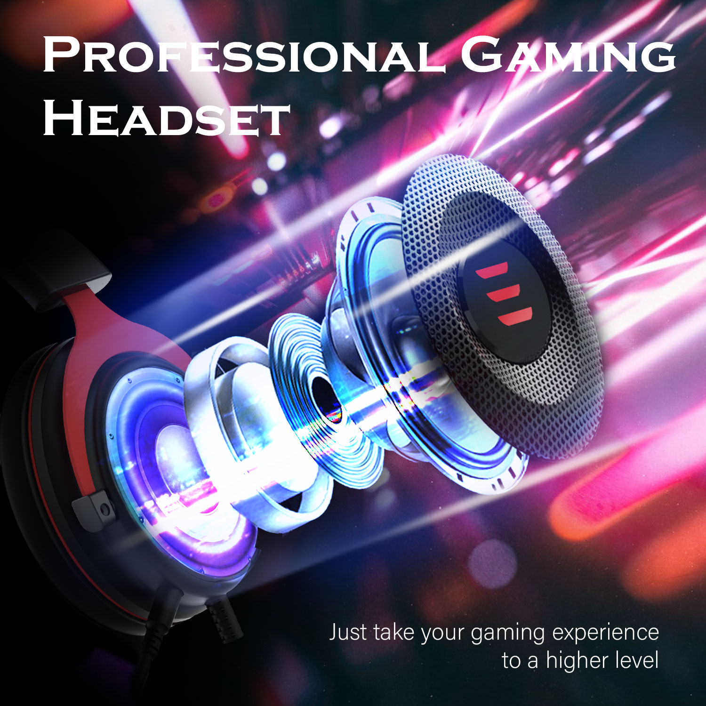 Eksa gaming headset wired gamer fone de