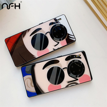Mate 30 Creative Cartoon Glass Phone Case For Huawei Mate 30 Pro TPU Siliocne Bumper Protective Cover On Mate 30 Pro Huawe Case