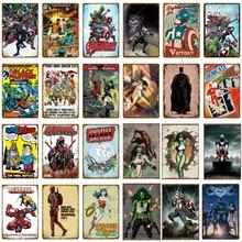 Decorative-Plates Wall-Decor Art-Painting Metal-Signs Comic Vintage Poster Superhero
