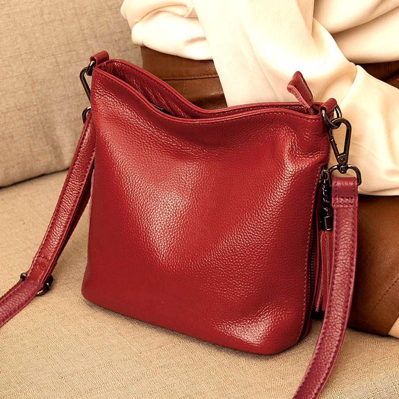 Hot Sale Cow Leather Bucket Bag Lady Genuine Leather Women's Handbags Fashion Tassel Shoulder CrossBody Bags For Women