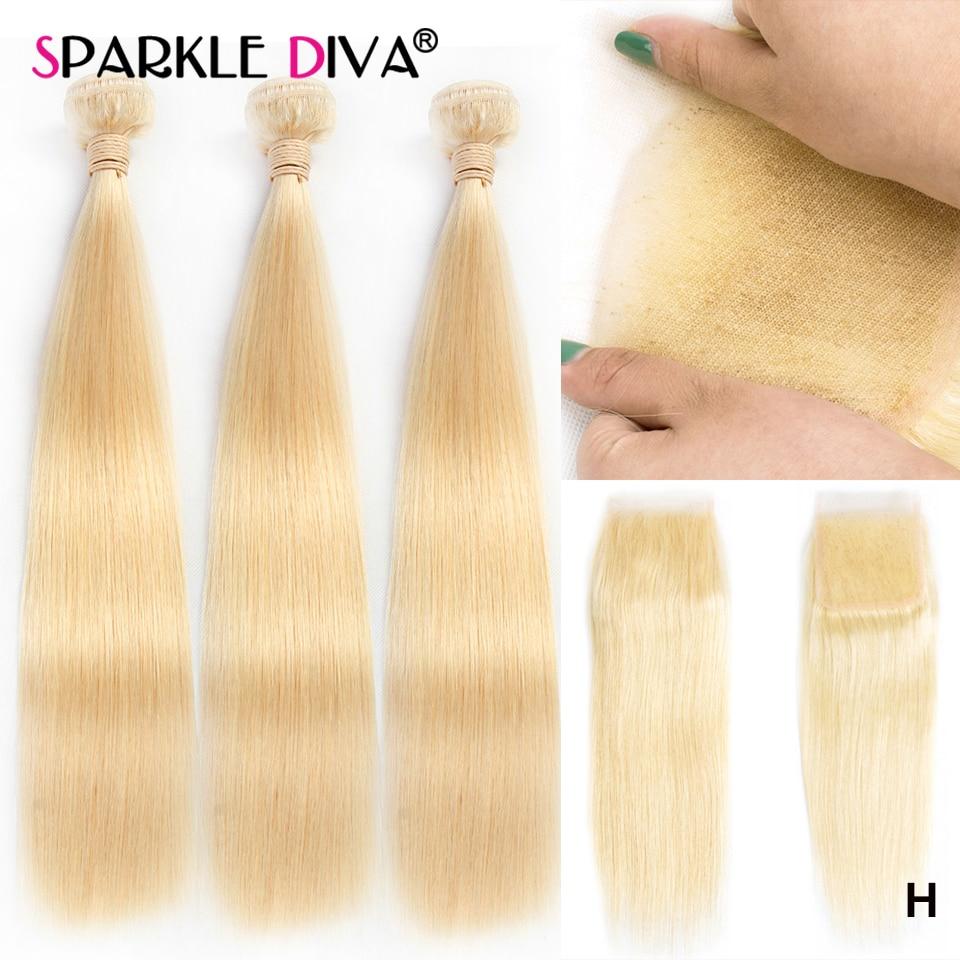 613 Bundles With Closure Brazilian Straight Hair Weave Bundles Extenstions 10-28 Remy Blonde Human Hair 3 Bundles With Closure