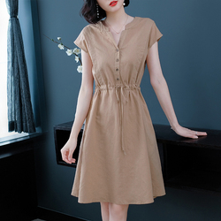 Summer Plus Size Button Lace Up Folds Short Sleeve V-Neck A-Line Elegant Vintage Simple Women Daily Wear Cocktail Dresses 9629