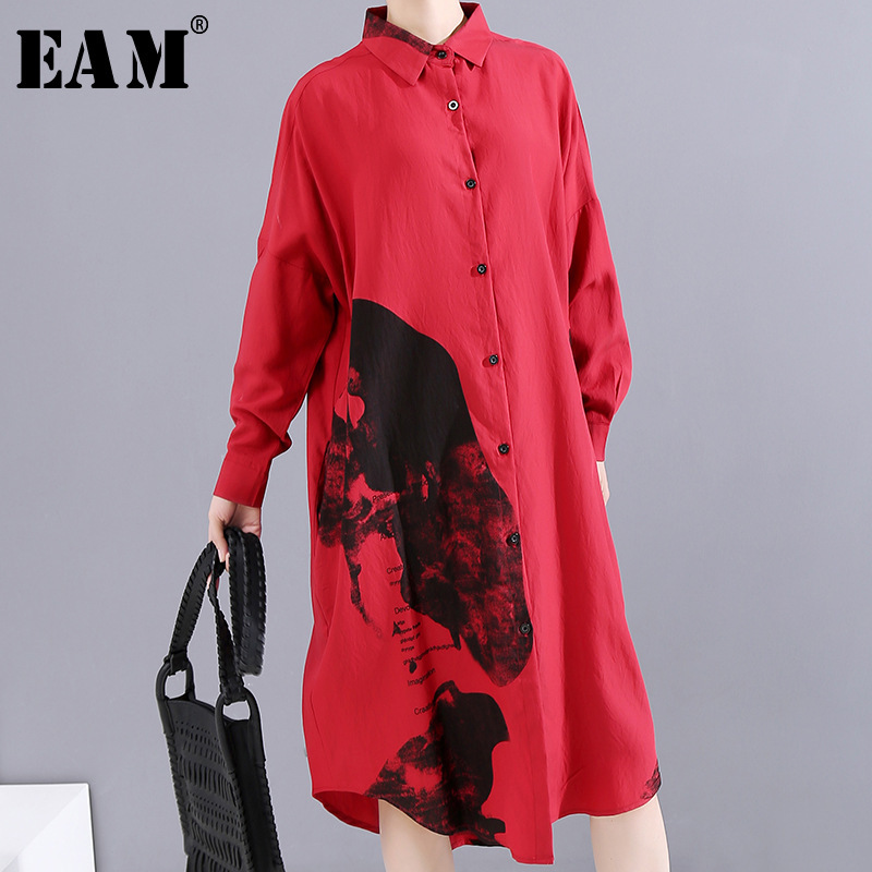 [EAM] Women Pattern Print Loose Big Size Shirt Dress New Lapel Long Sleeve Loose Fit Fashion Tide Early Spring 2020 1M922