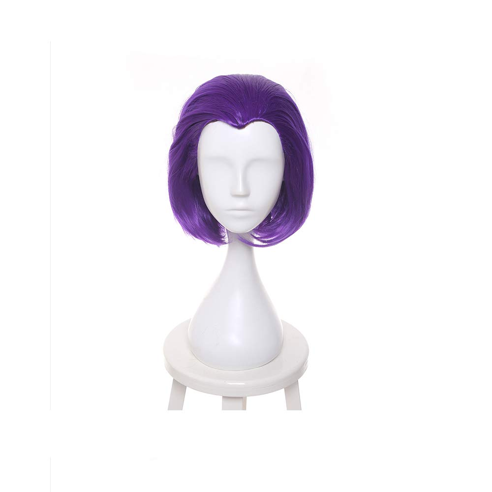 Brand New 35cm Purple Raven Cosplay Wigs Short Straight Heat Resistant Synthetic Hair Perucas Cosplay Wig + Wig Cap