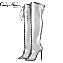 Shoes Lace-Up Transparent Onlymaker Stiletto Above-The-Knee High-Heels Fashion Women