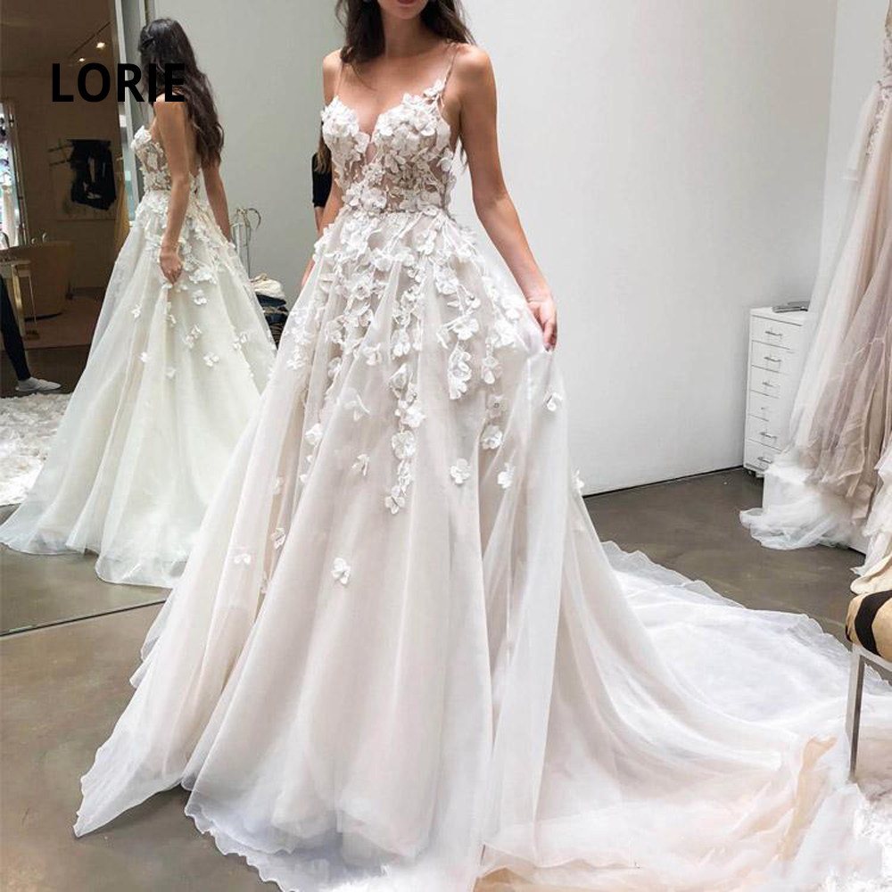 LORIE Spaghetti Strap Beach Wedding Dress 2020 Elegant Lace Appliqued Chiffon Boho Bridal Gowns Princess Wedding Party Dresses
