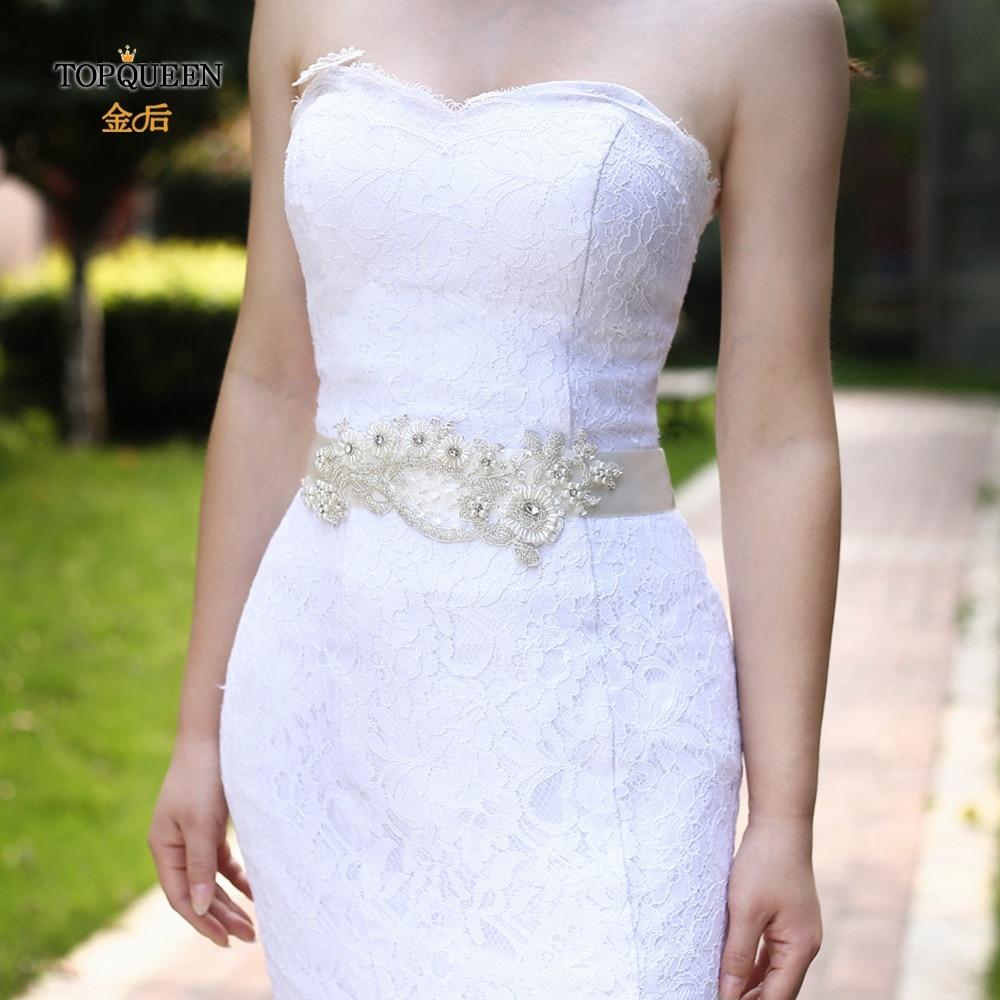 TOPQUEEN S91 Champagne Sash Champagne Dress Dress Sash Pearl Thin Flower Bridal Belt Thin Pearl Belts Pearl Wedding Belt