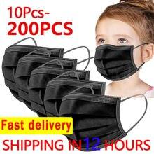 10-200 pces máscara protetora descartável do miúdo máscara protetora preta nonwove 3 camada máscara boca anti poeira respirável máscaras de criança protetora navio rápido
