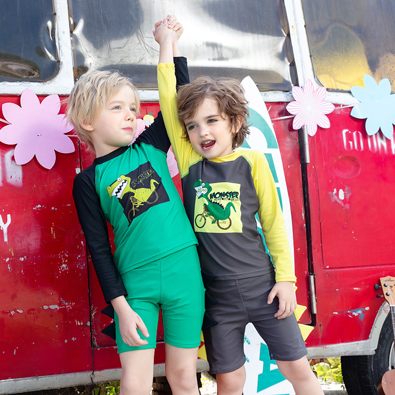 2020 New Style CHILDREN'S Swimwear Cute Cartoon Dinosaur Printed Long Sleeve Onesie-Children Swimwear Boy