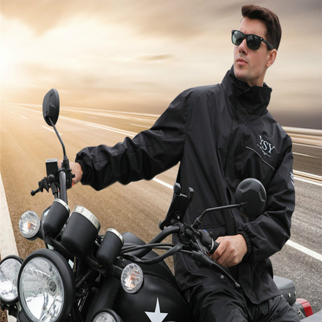 Adult Motorcycle Raincoat Men Rain Pants Suit Split Waterproof Breathable Black Rain Coat Rain Jacket Thickened Impermeable Gift