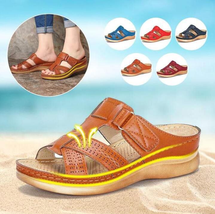 Comfy Sandals Corrector Orthopedic Low-Heels Open-Toe Premium Super-Soft Summer Women's