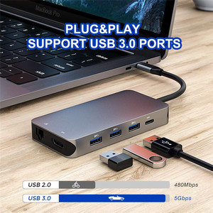Image 3 - Thunderbolt 3 Type C Converter USB C hdmi 4K 30hz USB3.0 hub Micro SD/TF Card Reader RJ45 1000mbps with PD charging Adapter
