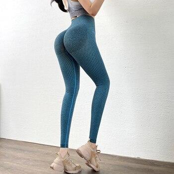 Hots alta cintura mujeres gimnasio Fitness Leggings sin costuras Control de la panza Yoga pantalones de compresión Push Up Running Tights
