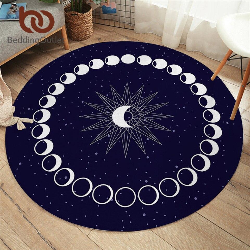 Коврик для кровати Eclipse, круглый ковер с Луной и звездой для гостиной, Galaxy, нескользящий коврик, синий Декоративный Напольный коврик, 150 см