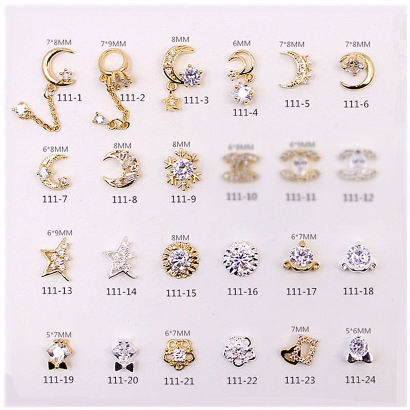 Manicure Metal Alloy Decorations 111 High-End Zircon Delicacy Micro Pave Nail Crystal Star Moon Pendant