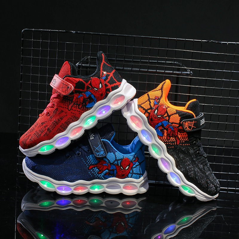 Boys Shoes Fiber Optic Casual Shoes Led Light Up 2019 Autumn Kids Led Shoes Spiderman Glowing Sneakers Shoes Big Girl Sneakers