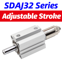 цена на SDAJ Adjustable stroke Air pneumatic cylinder bore 32 40mm stroke 5 - 100 mm Compact Cylinder SDAJ32X30-20S double acting
