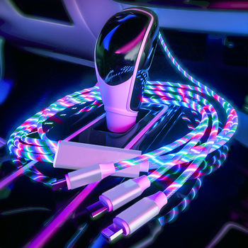 phone cable 3 in 1 USB car data line fast Car charging decoration usb Cable magnetic interior atmosphere light