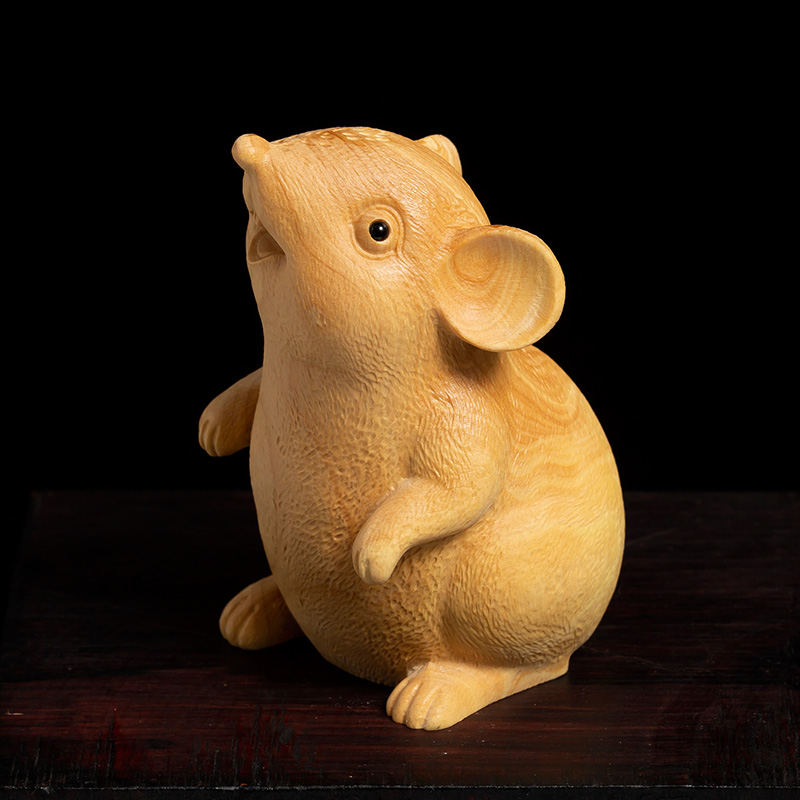 Escultura suerte de boj Zodíaco de Feng Shui rata sala de estar de madera tallada decorativa artesanía estatua de ratón decoración del hogar Estatuilla de resina decorativa de gato para decoraciones del hogar, regalo de boda creativo europeo, figura de animal, escultura de decoración para el hogar