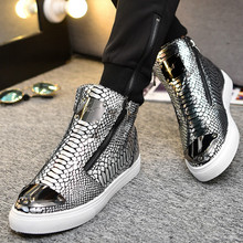 Sneakers Men High Top Microfiber Platform Shoes Bra