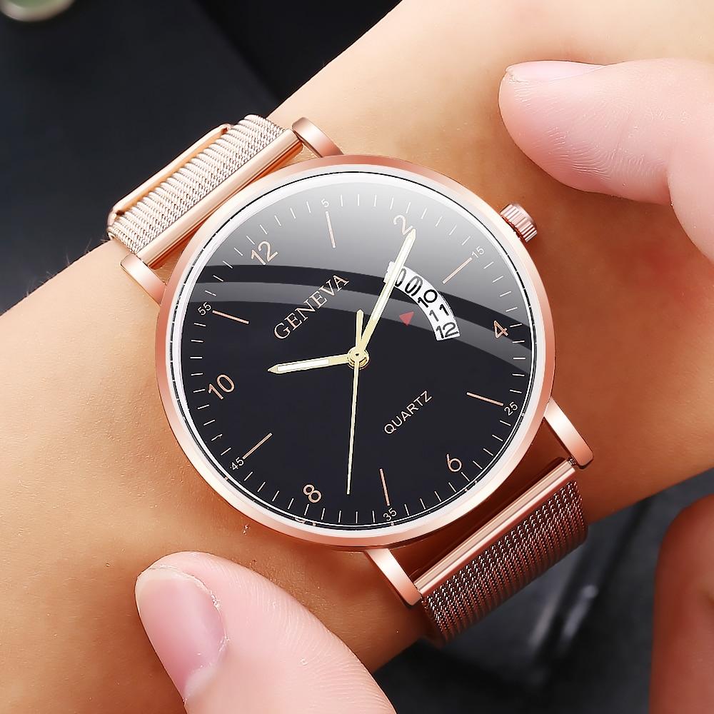 Fashion Men's Watches Top Brand Luxury Business Quartz Watch Men Casual Mesh Steel Sport Thin Large Dial Clock Relogio Masculino