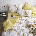 Design elegante europeu amarelo limão jogo de cama, rainha completa rei algodão duplo casa têxtil folha fronha colcha capa