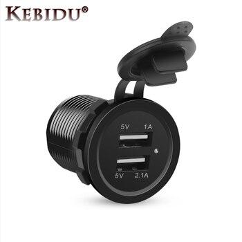 KEBIDU 2.1A/1A Dual USB Car Charger Car Power Charger Cigarette Lighter Adapter Socket Splitter Power Adapter For Phone 1