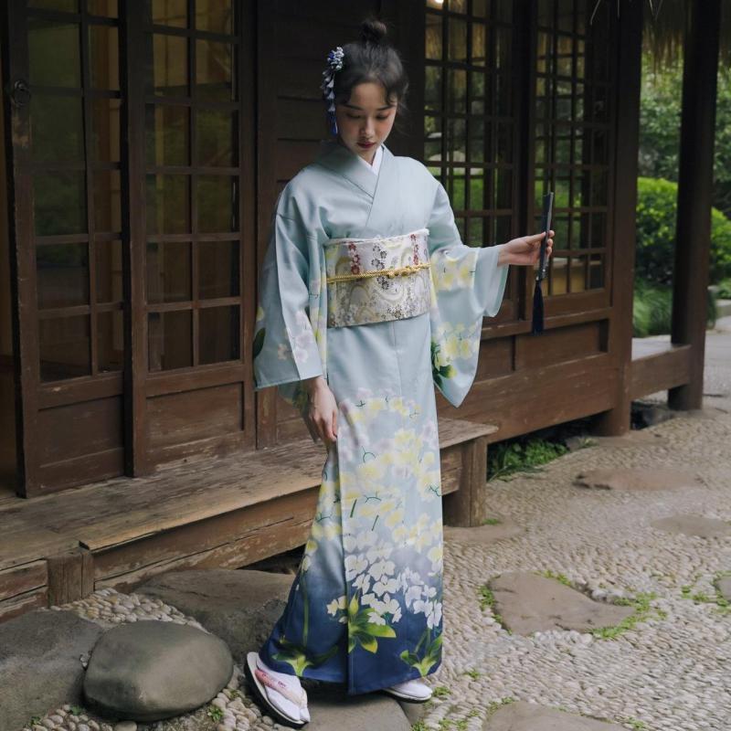 Traditional Japan Kimono Robe Women Yukata Dress Cosplay Costume Print Flower Vintage Clothing Halloween Carnival Party Dress Up