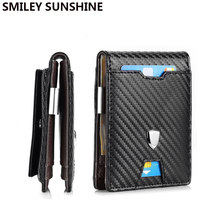Rfid Carbon Fiber Men Wallets Black Leather Money Bag Coin Card Holder Male Short Purse Thin 2020 Small Slim Mini Smart Wallet(China)