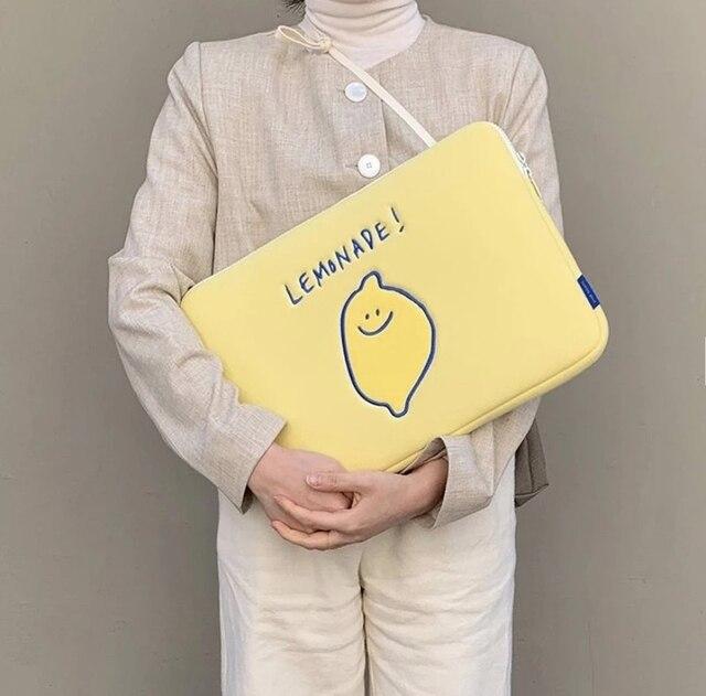 Korea Ipad Pro 9.7 10.8 11Inch Laptop Case Bag Korean Ins Lemon Cartoon 11 13 15 inch Tablet Protective Inner Sleeve Bag Pouch 2