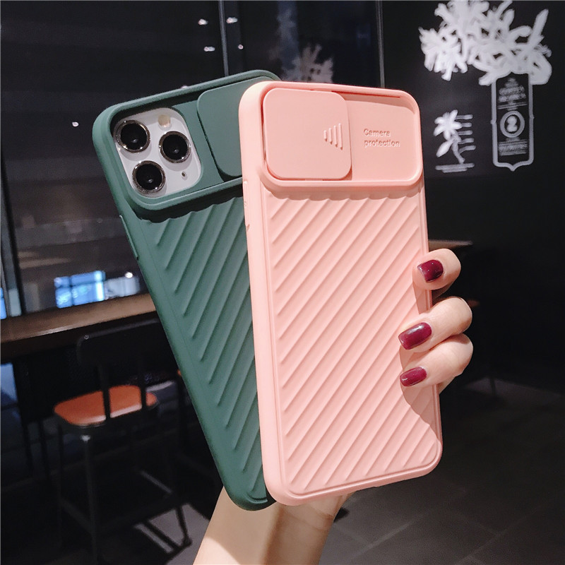 Shockproof Slide Camera Lens Protection Phone Case For iPhone 11 Pro Max X XR XS Max 8 7 6s Plus 8Plus Silicone Cover CamShield(China)