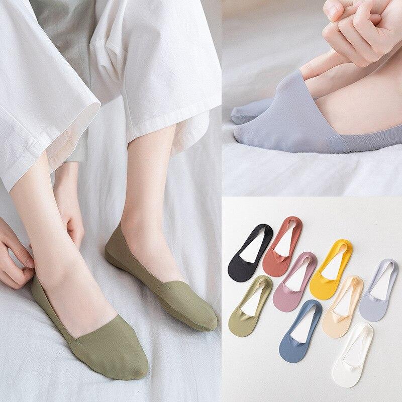 Женские модные носки-тапочки, Новинка лета 2020, короткие носки, однотонные женские высококачественные невидимые носки, женские носки в Корей...