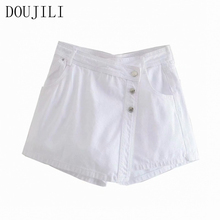 DOUJILI Hot Summer Shorts High Waist Pocket Zipper White Short Pants For Women Girl Casual Streetwear