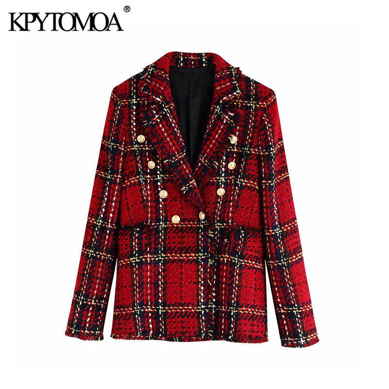 Vintage Stylish Double Breasted Plaid Tweed Blazer Coat Women 2019 Fashion Notched Collar Long Sleeve Female Outerwear Chic Tops