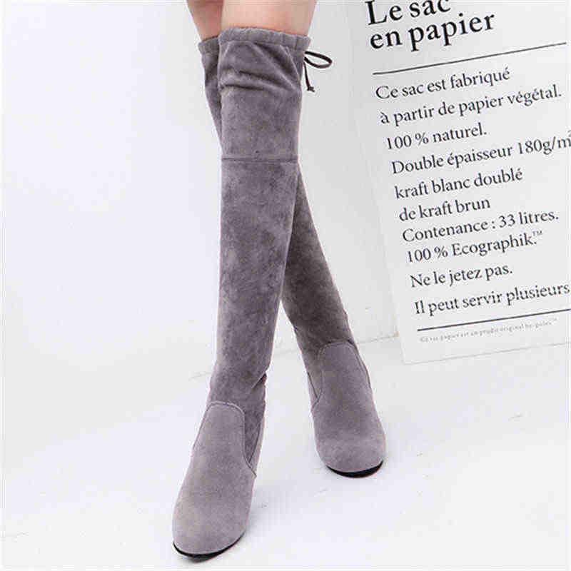 MEMUNIA 2020 yeni diz çizmeler üzerinde kadın yuvarlak ayak akın yüksek topuklu streç çizmeler zarif ince uyluk yüksek çizmeler bayan büyük boy