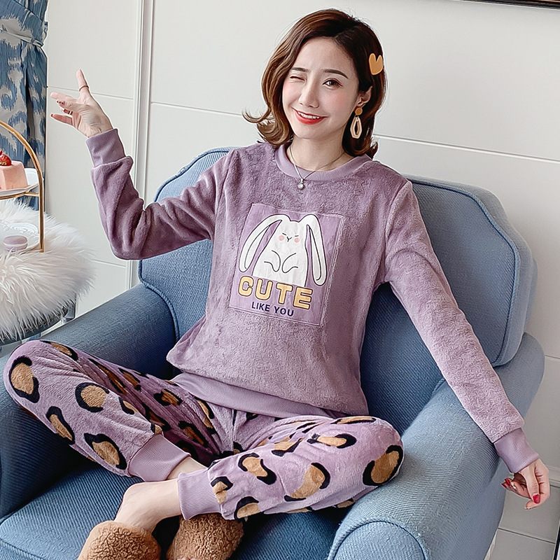 Autumn Winter Flannel Cartoon Cute Pajamas Long Sleeve Pyjamas Women Pijama Mujer Loungewear Home Clothes Sleep Set Nightwear 34