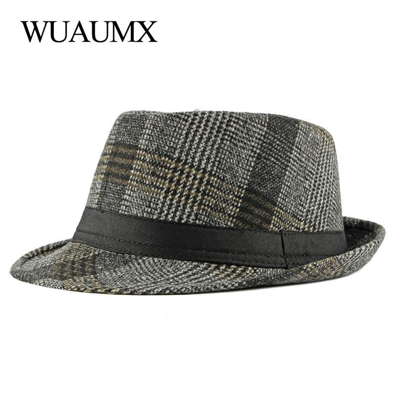 Mens Fedoras British Fashion Jazz Hat Plaid Decoration Brands Hats for Gentleman Men Dads Cap