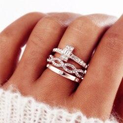 3 pièces de mode géométrique infini croix cristal anneaux pour les femmes or Rose bague ensemble fiançailles anneaux de mariage femme fête bijoux