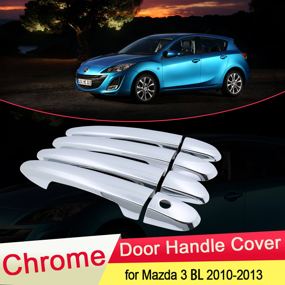 for <font><b>Mazda</b></font> <font><b>3</b></font> 2nd Gen BL Axela 2010 2011 <font><b>2012</b></font> 2013 Luxurious Chrome Door Handle Cover Trim Catch Cap Car Stickers <font><b>Accessories</b></font> ABS image