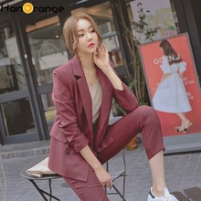 Ankle Length Striped Pant Suits Spring Autumn 2019 Fashion Temperament Casual