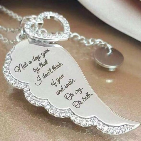 Купить винтажное ожерелье с подвеской в виде крыльев ангела и сердца