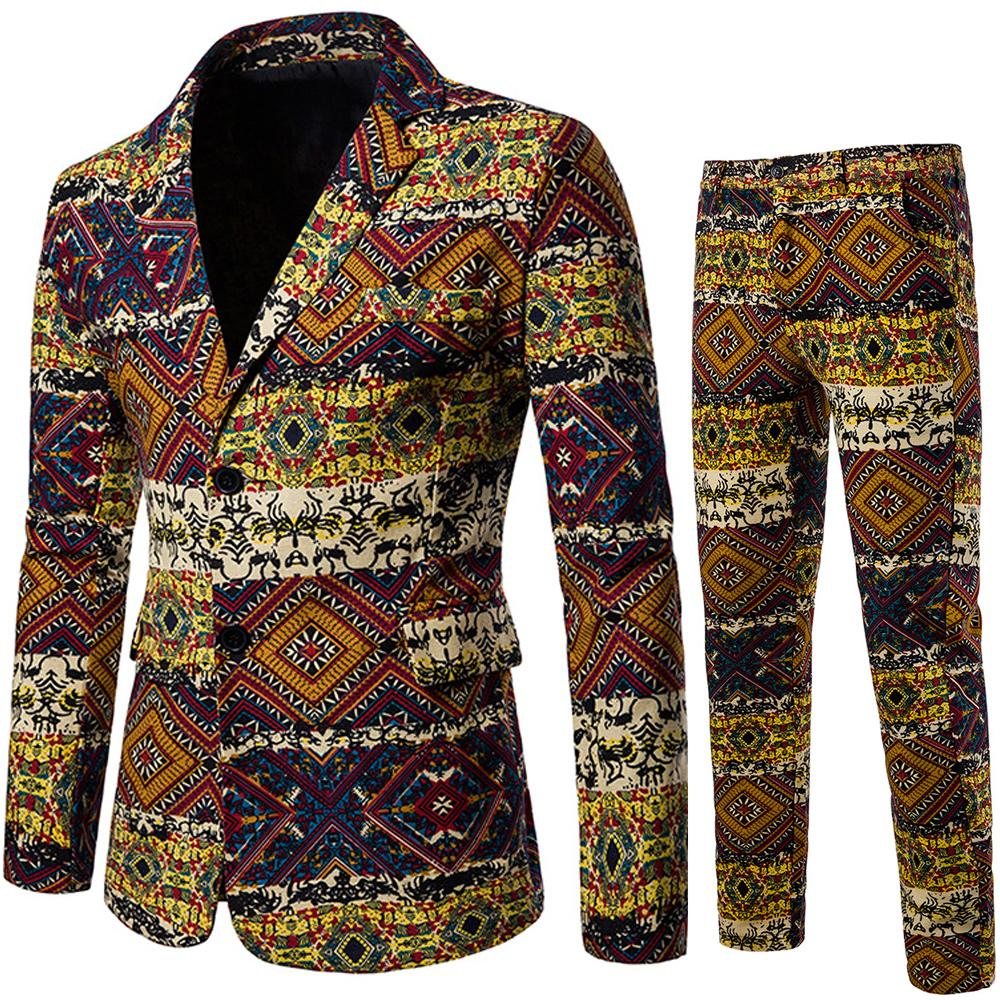 Men Blazer Printed 2 Pieces/Sets Mens Suits With Pants Linen Flax Casual Jacket Unique Slim New