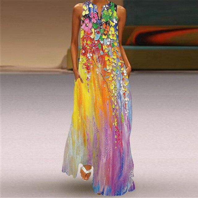 MOVOKAKA Heart Print Vintage Dress 2021 Party V Neck Summer Sundresses Elegant dresses Women Casual Beach Maxi Dresses For Women 6