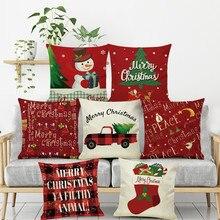 Pillowcases New Christmas Cotton Linen Throw Pillow Case Sofa Cushion case Home Decor Housse de Coussin Pillow case стоимость