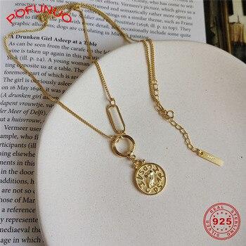 POFUNUO Women 925 Sterling Silver Necklace Minimalist Owl Coin Round Pendant Sweater Choker Girls Stylish Fine Jewelry Necklace stylish layered round pendant necklace for women
