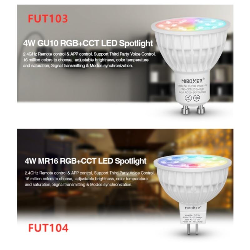 Miboxer led bulbo fut103 gu10 fut104 mr16 4w rgb cct led spotlight pode ser escurecido luz de teto 2.4g remoto fut092 para casa