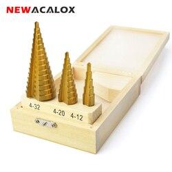 NEWACALOX خطوة كبيرة مخروط HSS الصلب لولبية مخدد خطوة مثقاب الخشب ثقب القاطع قطع أداة 4-12/20/32 مللي متر مع صندوق خشبي 3 قطعة/المجموعة