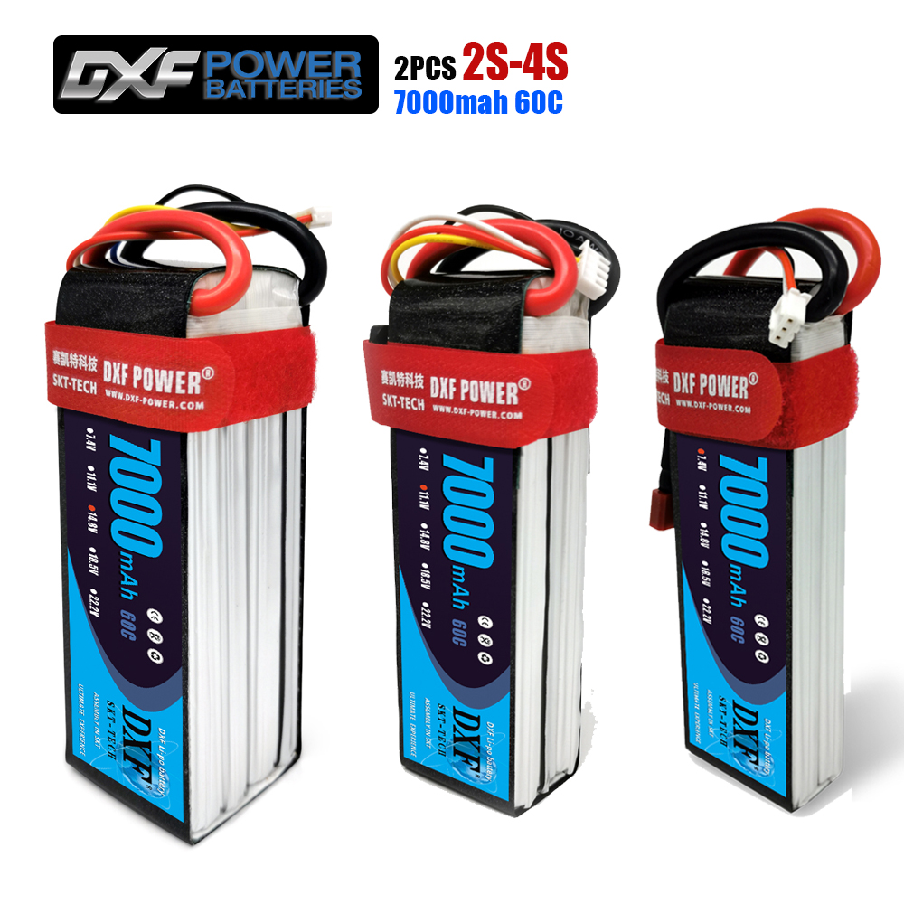 2PCS DXF 2S 3S 4S 7.4V 11.1V 14.8V 7000mAh 60C Lipo Battery RC Parts Hard Case Deans/T For TRX 4 Buggy Cars Airplane Boat(China)