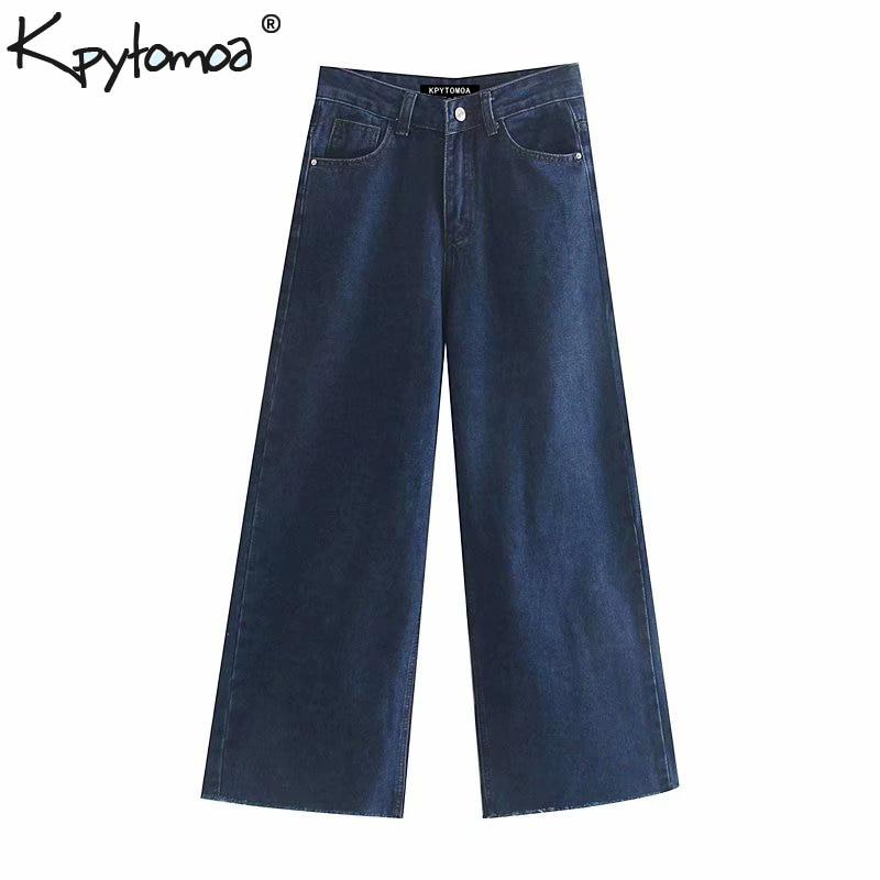 Vintage Stylish Navy Blue HIgh Waist Jeans Women 2020 Fashion Zipper Fly Pockets Wide Leg Denim Pants Casual Jean Femme Trousers
